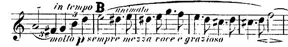 Figure 11a: Johannes Brahms: String Quartet op. 51 no. 2, first movement, bars 46-50. First Edition, violin 1 part.