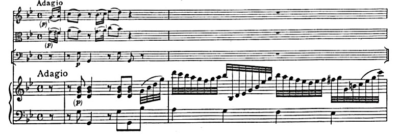 Figure 1: C.P.E. Bach: Quartet in G Major, Wq. 95, 'Adagio', bars 1–2.