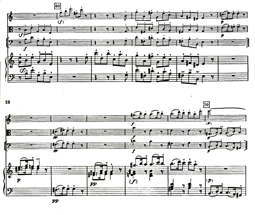 Figure 5: C.P.E. Bach: Quartet in A Minor, Wq. 93, 'Allegro assai', bars 60-70.