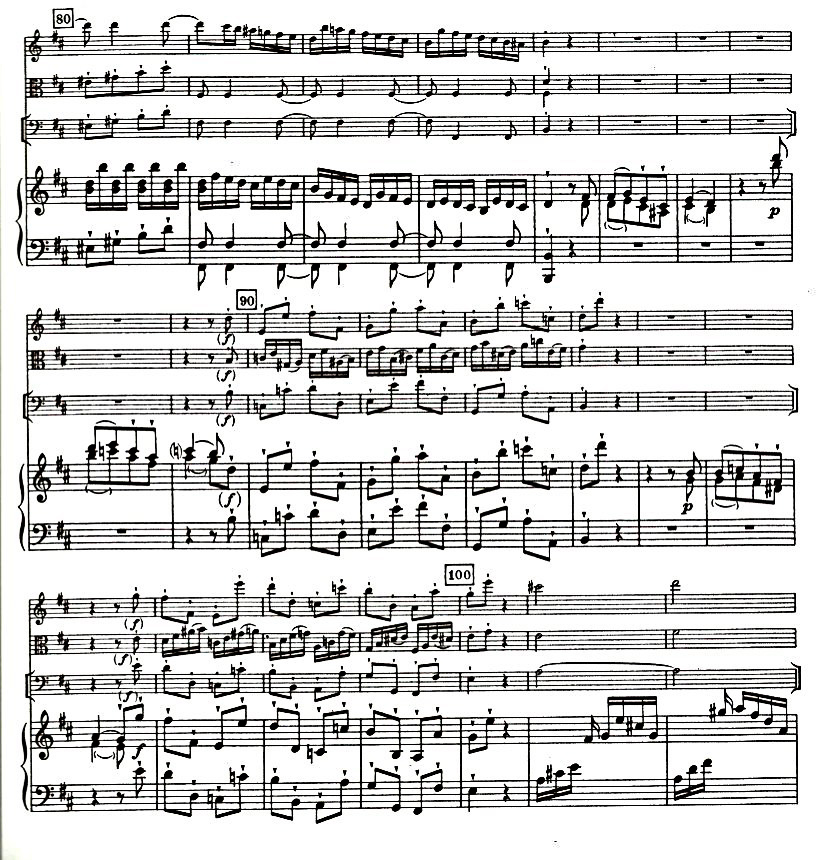 Figure 4: C.P.E. Bach: Quartet in D Major, Wq. 94, Allegro di molto', bars 84–100.