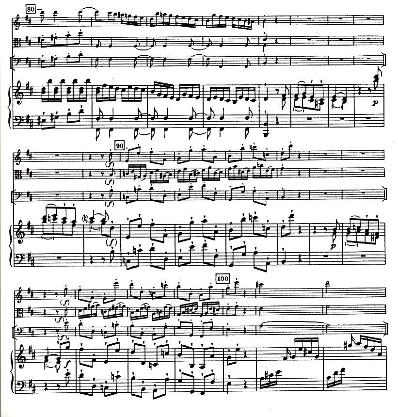 Figure 4: C.P.E. Bach: Quartet in D Major, Wq. 94, Allegro di molto', bars 84–100.