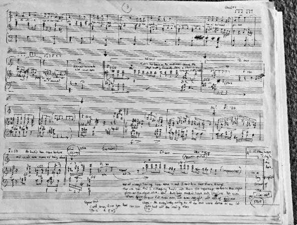 Figure 3: Douglas Gould: Recital I, Autograph Arrangement for 2014 Production, page 3 (courtesy of Douglas Gould).