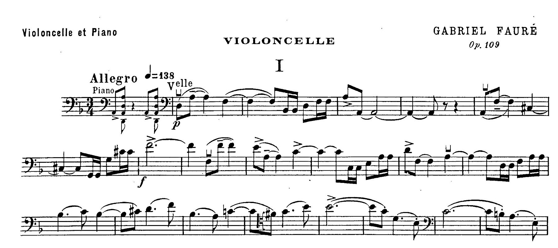 Figure 5: Gabriel Fauré: Sonate op.109, first movement, bars 1–21. First edition, cello part (1918).