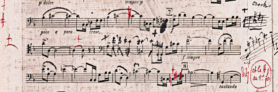 Figure 6: Gabriel Fauré: Sonate op. 109, first movement. First proof, cello part (1917).