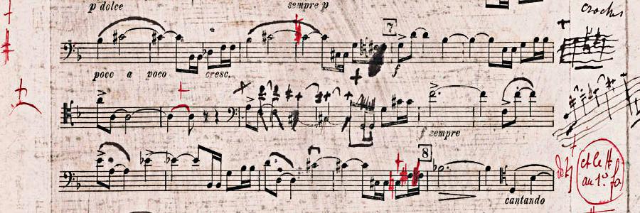 Figure 6: Gabriel Fauré: Sonate op. 109, first movement. First proof, cello part (1917).