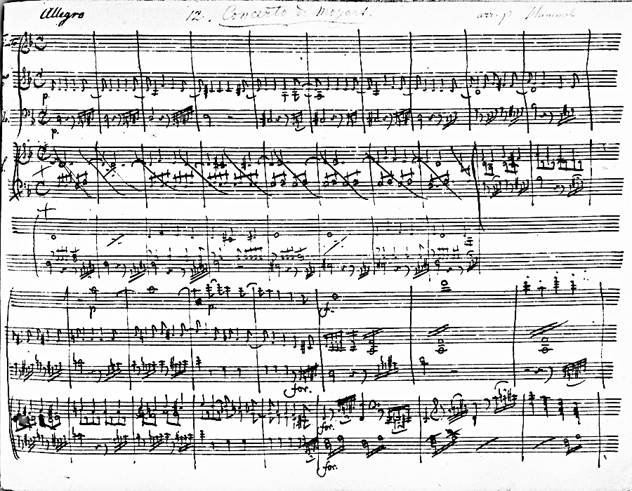 Figure 3: Hummel's manuscript, arrangement of the Mozart Piano concerto in D minor, KV 466, 'Allegro'. London, British Library, Add. MS 32 234, f 100r, bars 1-18.
