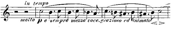 Figure 11b: Johannes Brahms: String Quartet op.51 no.2, first movement, bars 46-50. First Edition, violin 2 part.