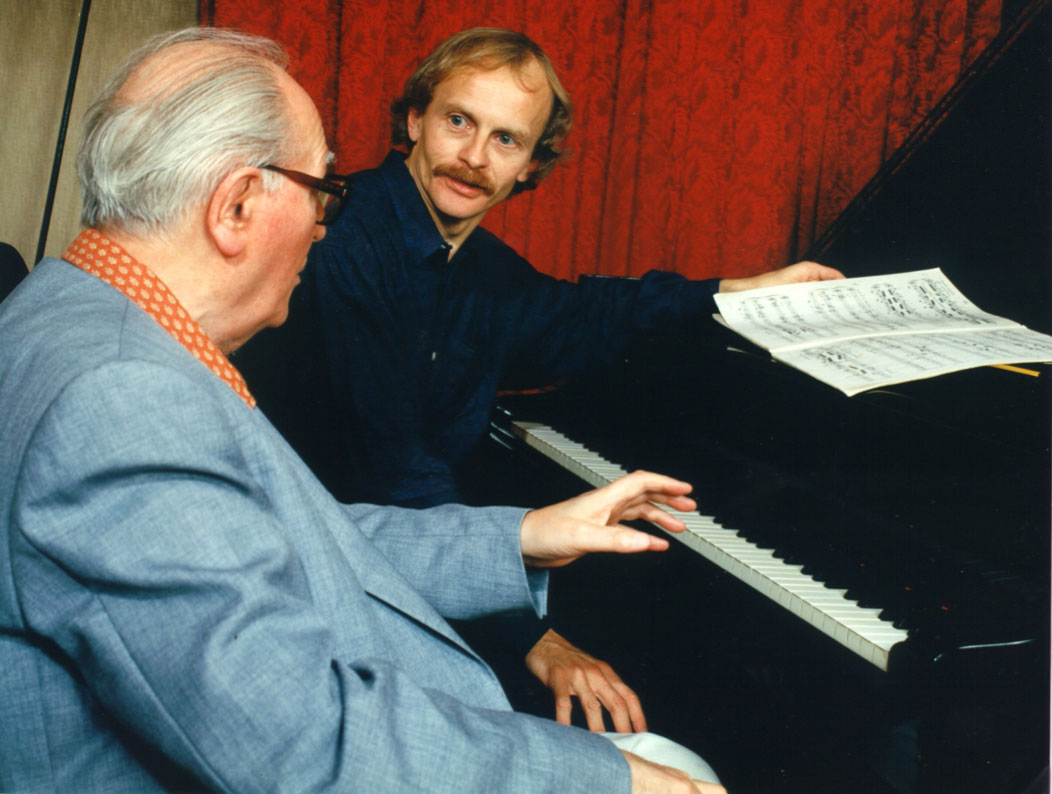 Olivier Messiaen with Håkon Austbø in 1988