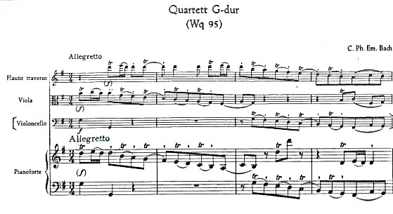 Figure 2: C.P.E. Bach: Quartet in G Major, 'Wq. 95, Allegretto', bars 1–4.