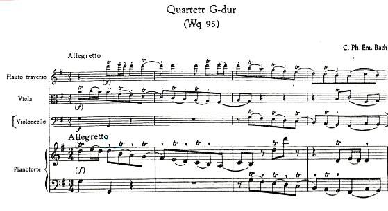 Figure 2: C.P.E. Bach: Quartet in G Major, 'Wq. 95, Allegretto', bars 1–4.