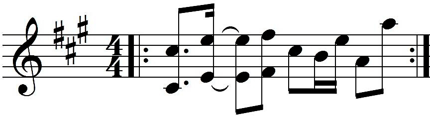 Figure 1: Song Sanata, patterns A and B (above) and melody (below).