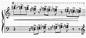 Figure 2: Alfred Schnittke: Piano Sonata No. 2, 3rd movement; 'Allegro moderato', bar 5
