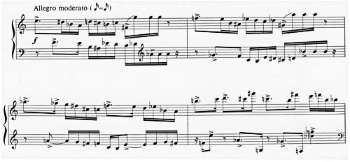 Figure 1: Alfred Schnittke: Piano Sonata No. 2, 3rd movement; 'Allegro moderato', bars 1-4