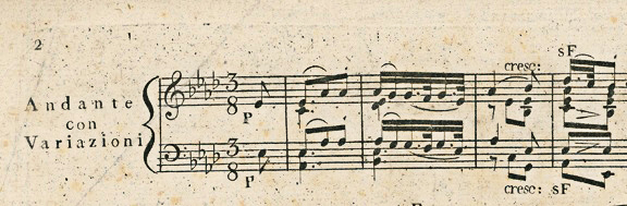 Figure 2: Beethoven: Sonata in A flat Major, op. 26, 1st movement 'Andante con Variazioni', bars 1-4. First edition; Cappi, 880