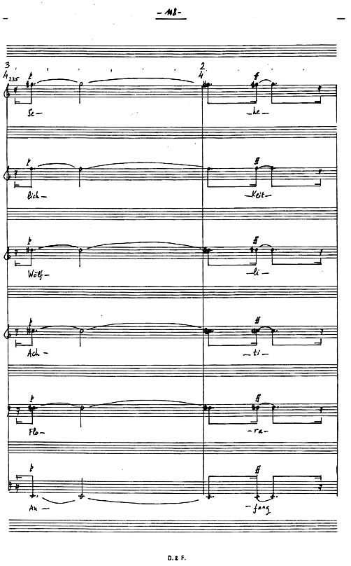 Figure 5: G. Aperghis: 'Petrrohl', bars 235-36, from Wölfli Kantata