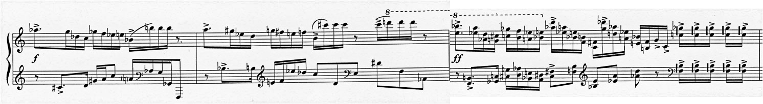 Figure 4: Alfred Schnittke: Piano Sonata No. 2, 3rd movement; 'Allegro moderato', bars 1-3 and 17-19