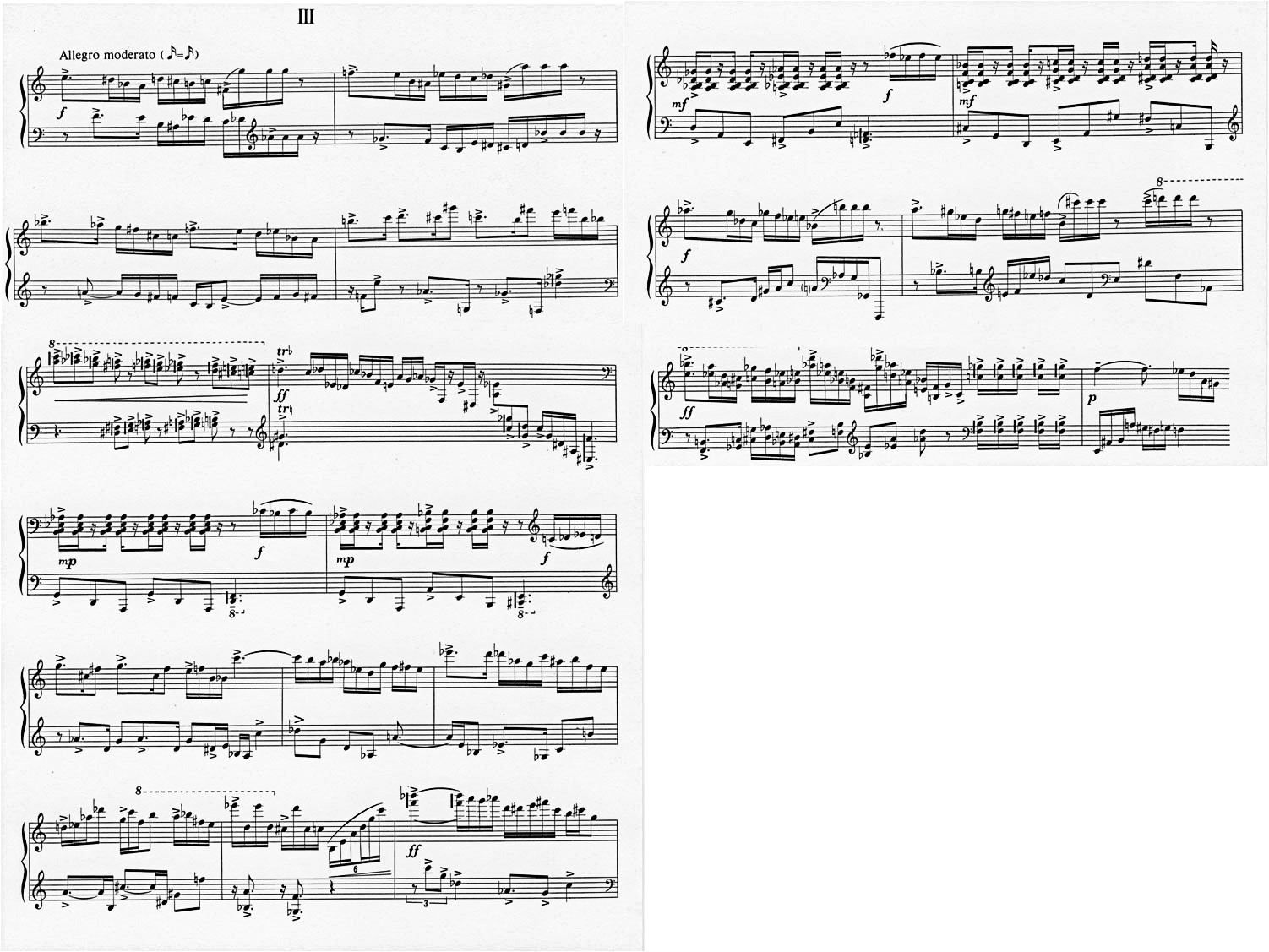 Figure 5: Alfred Schnittke's Piano Sonata No. 2, 3rd movement; 'Allegro moderato', bars 1-19