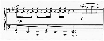 Figure 3: Alfred Schnittke: Piano Sonata No. 2, 3rd movement; 'Allegro moderato', bar 7